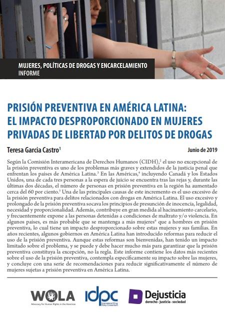 Prisión preventiva en América Latina: el impacto desproporcionado en mujeres privadas de libertad por delitos de drogas