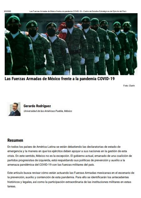 Las Fuerzas Armadas de México frente a la pandemia COVID-19