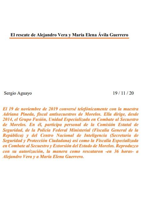 El rescate de Alejandro Vera y María Elena Ávila Guerrero