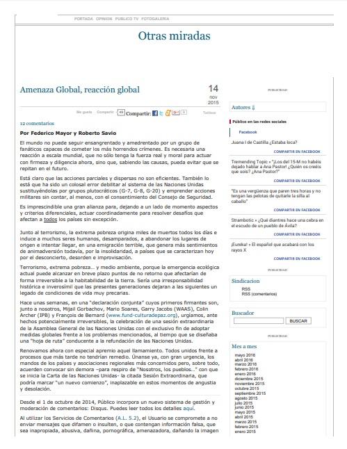 Amenaza Global, reacción global