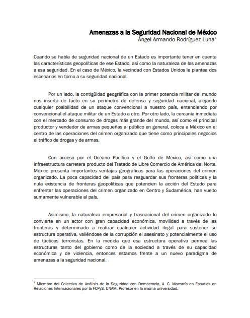 Perspectivas de la Seguridad 2009 - Amenazas a la Seguridad Nacional de México