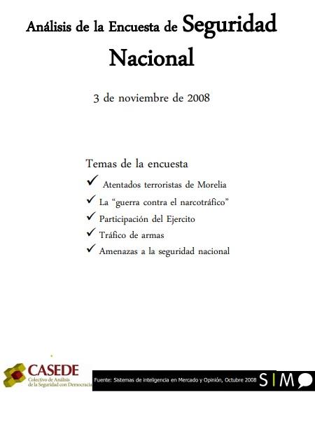 Análisis de la Encuesta de Seguridad Nacional, noviembre, 2008