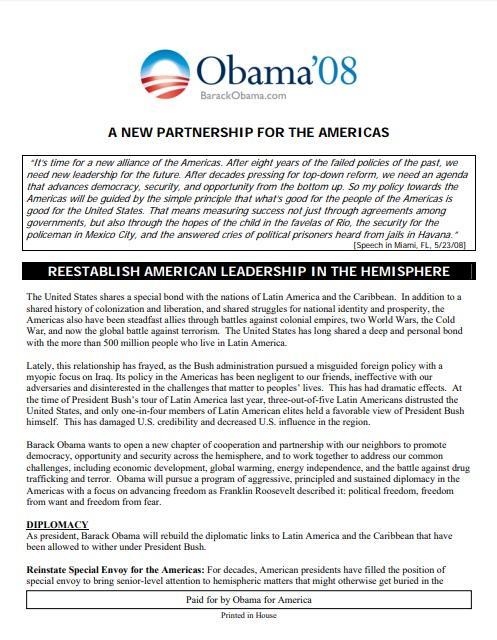 Barack Obama: A New Partnership for the Americas