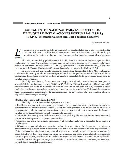 Código Internacional para la Protección de Buques e Instalaciones Portuarias