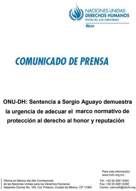 ONU-DH: Sentencia a Sergio Aguayo demuestra la urgencia de adecuar el marco normativo de protección al derecho al honor y reputación