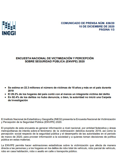 Encuesta nacional de victimización y percepción sobre seguridad pública (ENVIPE) 2020