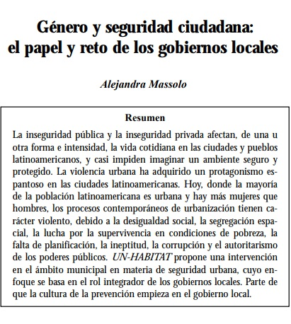 Género y seguridad ciudadana: El papel y reto de los gobiernos locales