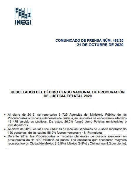 Resultados del décimo censo nacional deprocuración de justiciaestatal2020