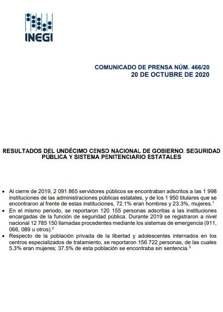 Resultados del undécimo censo nacional de gobierno, seguridad pública y sistema penitenciario estatales