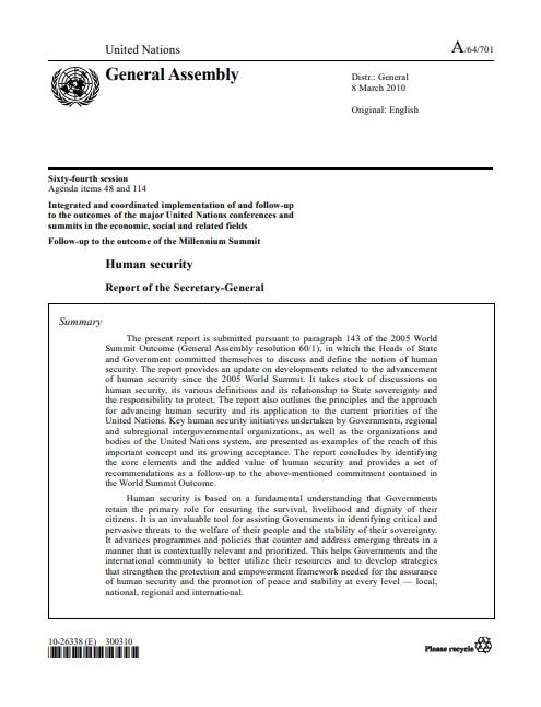Informe del Secretario General de Naciones Unidas sobre Seguridad Humana