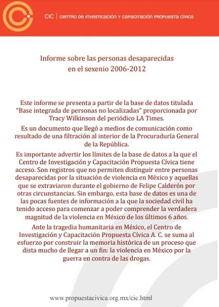 Bases de datos sobre personas desaparecidas en México 2006-2012