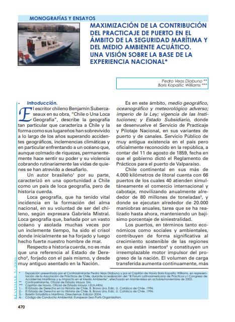 Maximización de la contribución del practicaje de puerto en el ámbito de la seguridad marítima