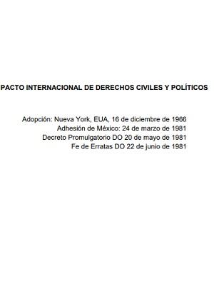 Pacto Internacional de Derechos Civiles y Políticos. Organización de las Naciones Unidas