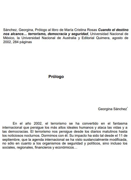 Prólogo al libro de María Cristina Rosas, Cuando el destino nos alcance… terrorismo, democracia y seguridad