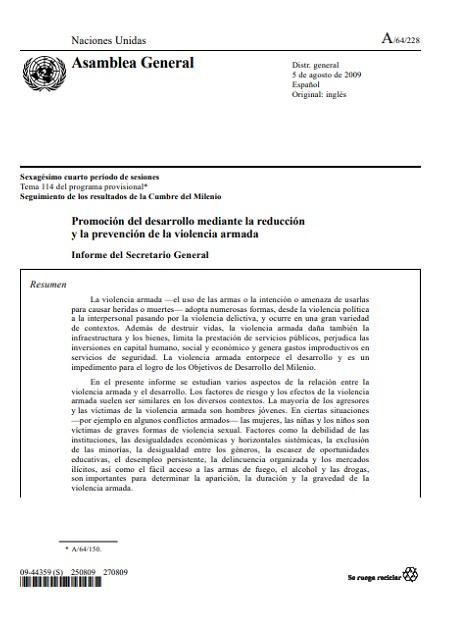 Promoción del desarrollo mediante la reducción y la prevención de la violencia armada
