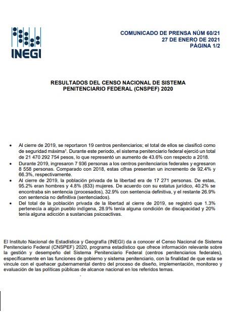 Resultados del Censo Nacional de Sistema Penitenciario Federal (CNSPEF) 2020