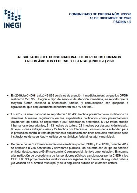 Resultados del censo nacional de derechos humanos en los ámbitos federal y estatal (CNDHF-E) 2020