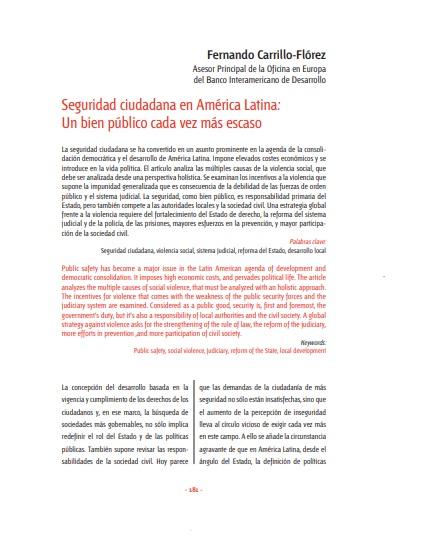 Seguridad ciudadana en América Latina: un bien público cada vez más escaso