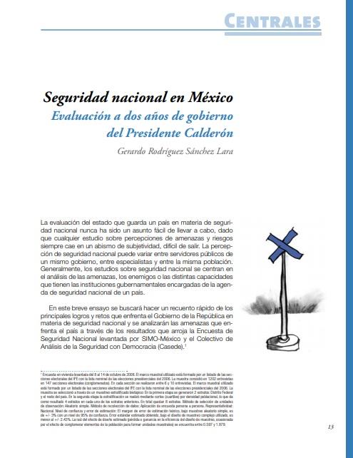 Seguridad Nacional en México: evaluación a dos años de gobierno del Presidente Calderón