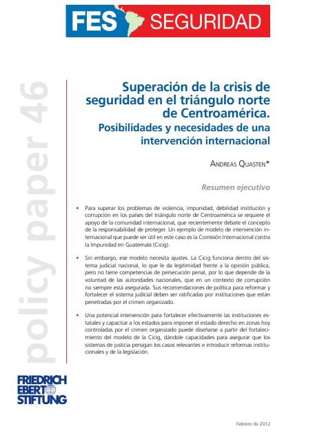 Superación de la crisis de seguridad en el triángulo norte de Centroamérica
