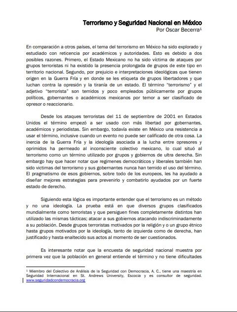 Perspectivas de la Seguridad 2009 - Terrorismo y Seguridad Nacional en México