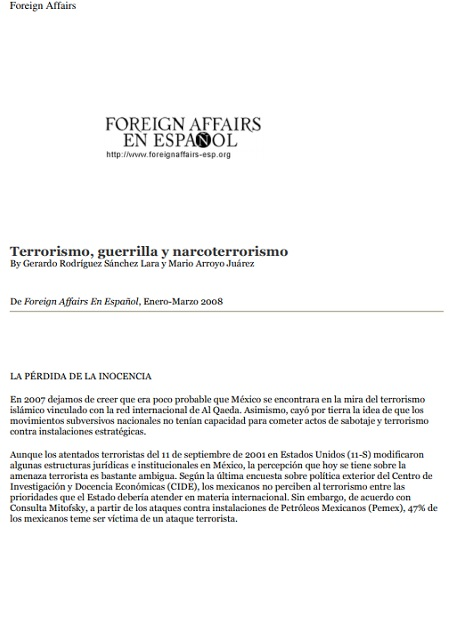 Terrorismo, guerrilla y narcoterrorismo: ¿Amenazas para México?