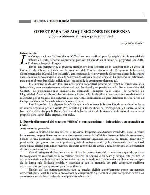 Offset para las adquisiciones de defensa